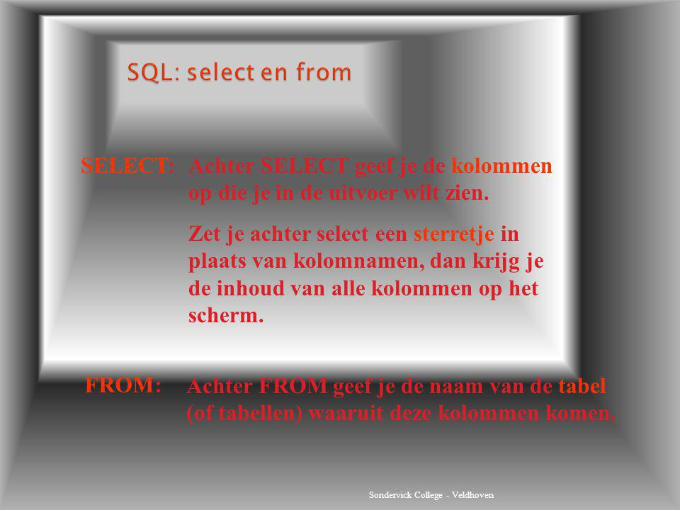 SQL: select en from SELECT: