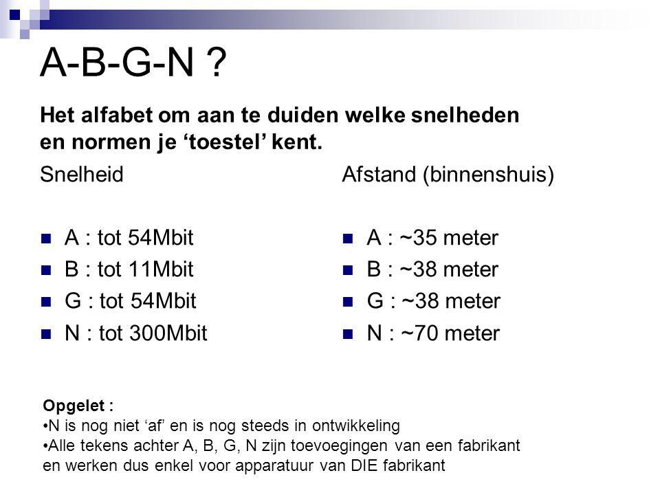 A-B-G-N Het alfabet om aan te duiden welke snelheden en normen je 'toestel' kent. Snelheid. A : tot 54Mbit.