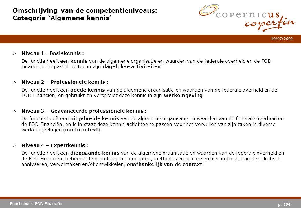 Omschrijving van de competentieniveaus: Categorie 'Algemene kennis'