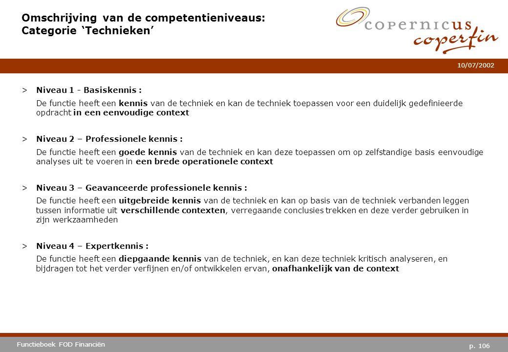 Omschrijving van de competentieniveaus: Categorie 'Technieken'