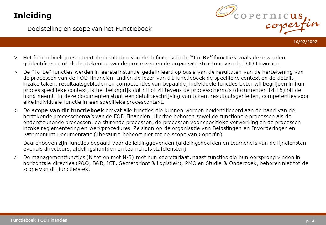 Inleiding Doelstelling en scope van het Functieboek