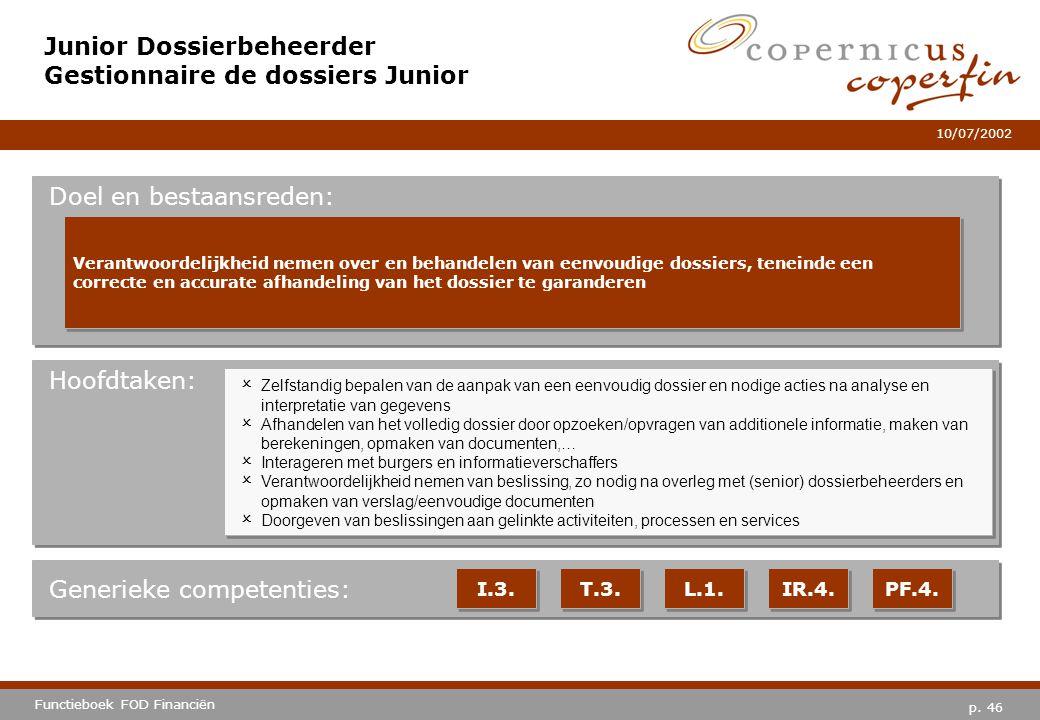 Junior Dossierbeheerder Gestionnaire de dossiers Junior