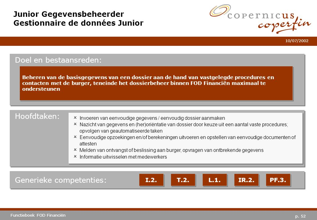 Junior Gegevensbeheerder Gestionnaire de données Junior