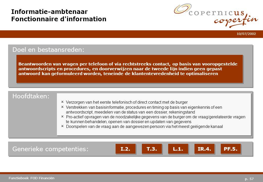 Informatie-ambtenaar Fonctionnaire d information