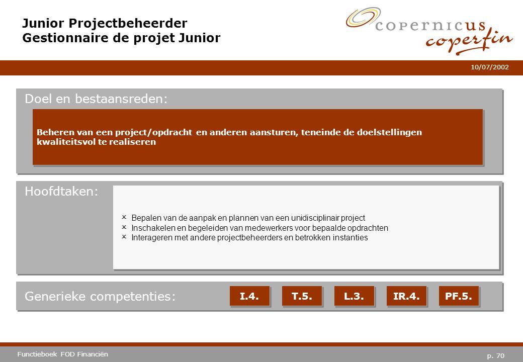 Junior Projectbeheerder Gestionnaire de projet Junior
