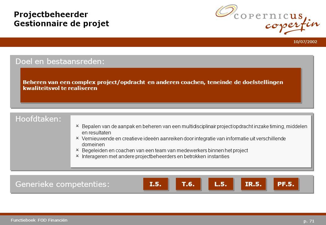 Projectbeheerder Gestionnaire de projet