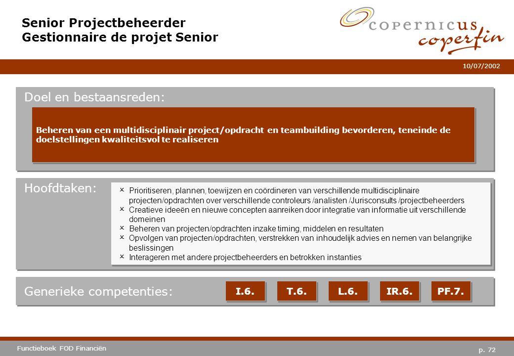 Senior Projectbeheerder Gestionnaire de projet Senior