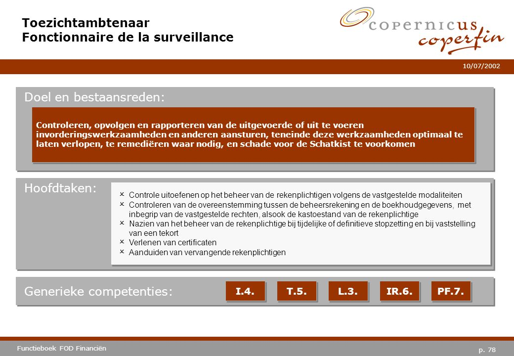 Toezichtambtenaar Fonctionnaire de la surveillance