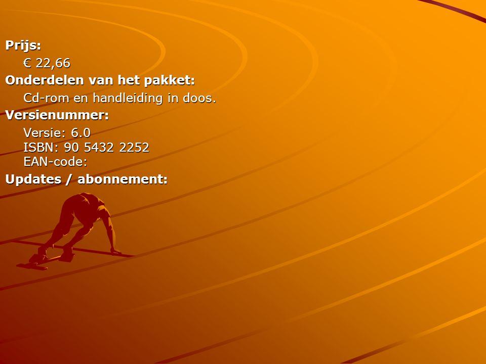 Prijs: € 22,66. Onderdelen van het pakket: Cd-rom en handleiding in doos. Versienummer: Versie: 6.0 ISBN: 90 5432 2252 EAN-code: