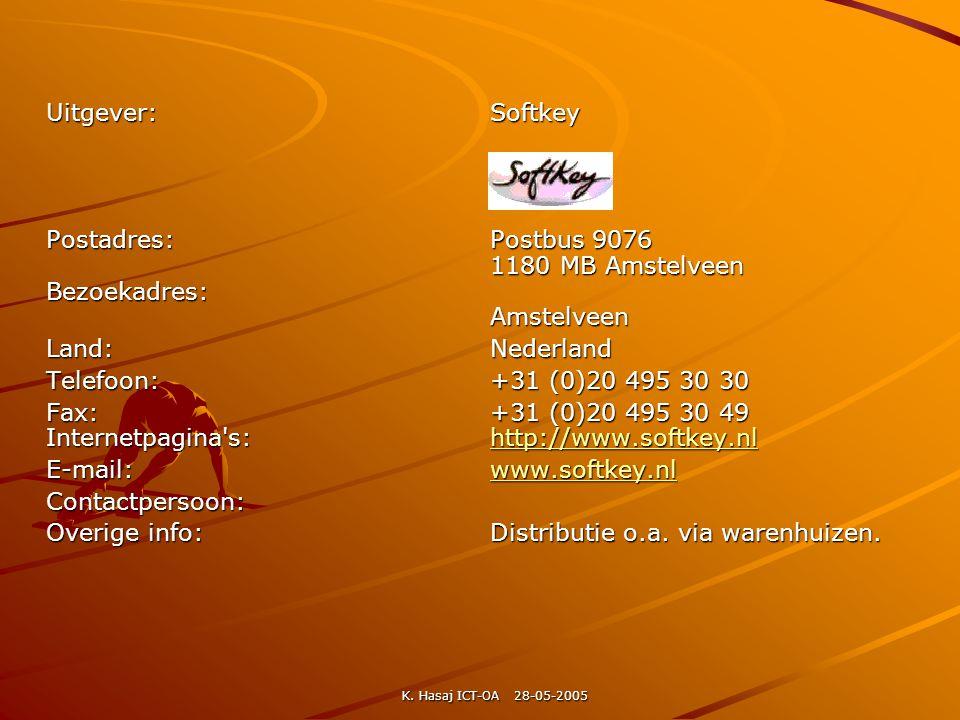 Uitgever: Softkey Postadres: Postbus 9076 1180 MB Amstelveen Bezoekadres: Amstelveen.