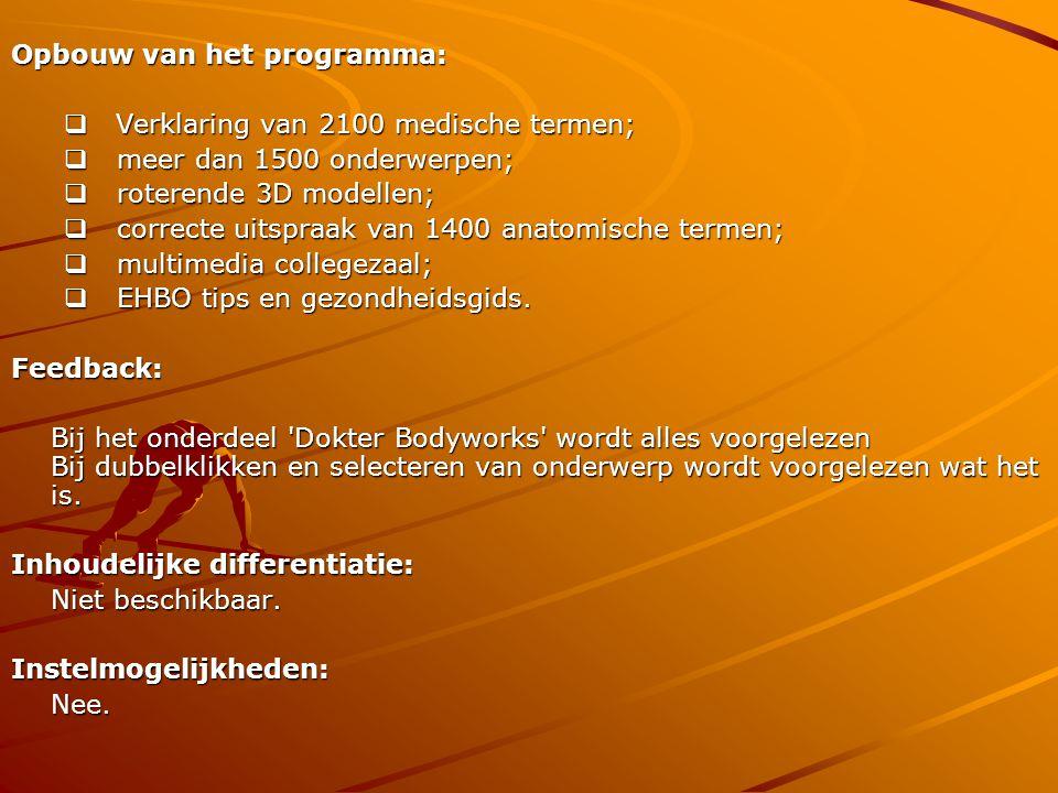 Opbouw van het programma: