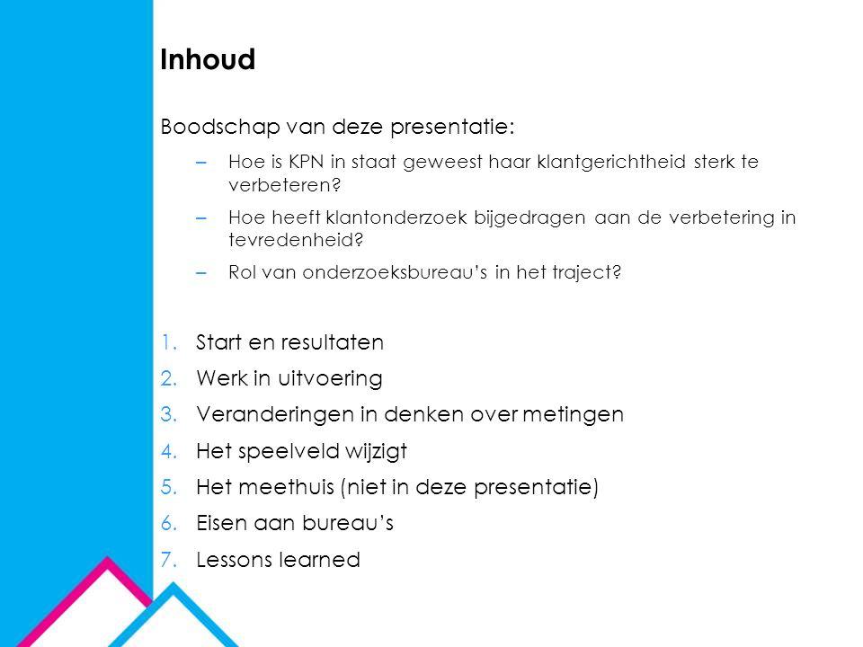 Inhoud Boodschap van deze presentatie: Start en resultaten