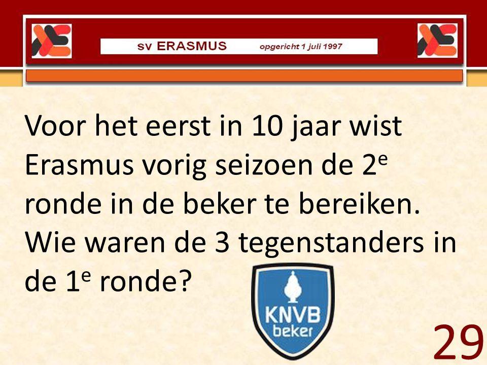 Voor het eerst in 10 jaar wist Erasmus vorig seizoen de 2e ronde in de beker te bereiken. Wie waren de 3 tegenstanders in de 1e ronde
