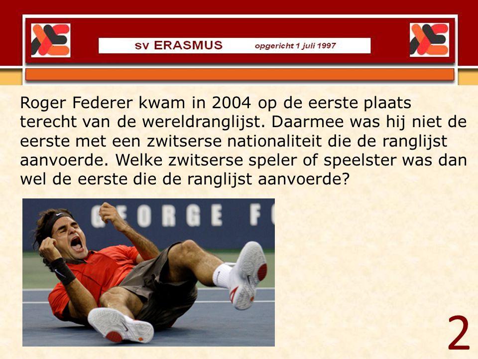 Roger Federer kwam in 2004 op de eerste plaats terecht van de wereldranglijst. Daarmee was hij niet de eerste met een zwitserse nationaliteit die de ranglijst aanvoerde. Welke zwitserse speler of speelster was dan wel de eerste die de ranglijst aanvoerde