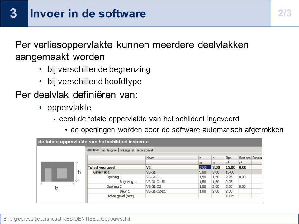 3 Invoer in de software. 2/3. Per verliesoppervlakte kunnen meerdere deelvlakken aangemaakt worden.