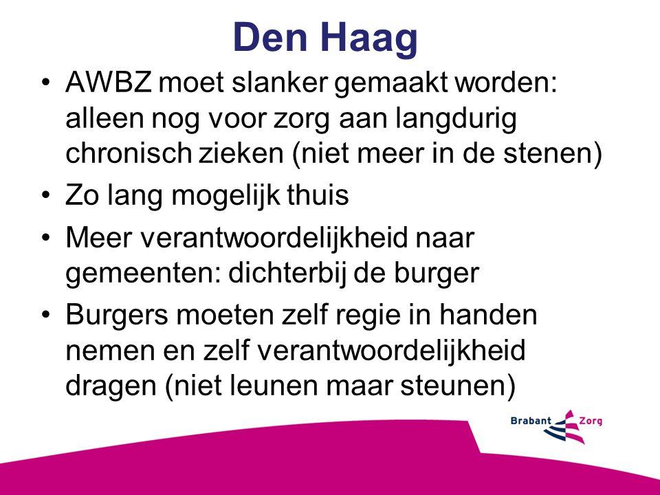 Den Haag AWBZ moet slanker gemaakt worden: alleen nog voor zorg aan langdurig chronisch zieken (niet meer in de stenen)
