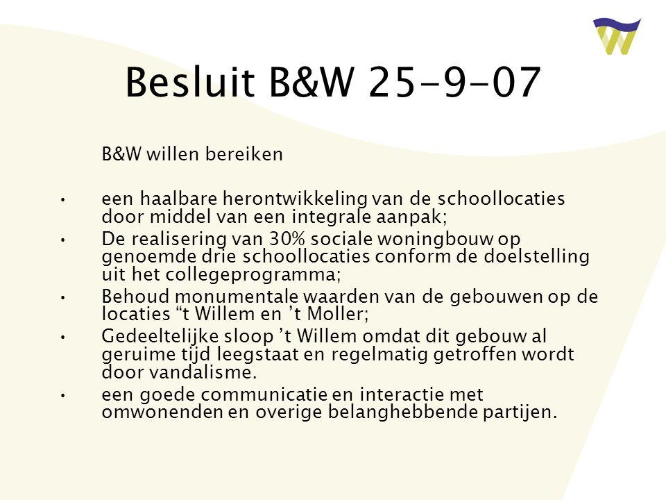 Besluit B&W 25-9-07 B&W willen bereiken