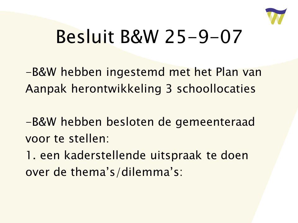 Besluit B&W 25-9-07 -B&W hebben ingestemd met het Plan van
