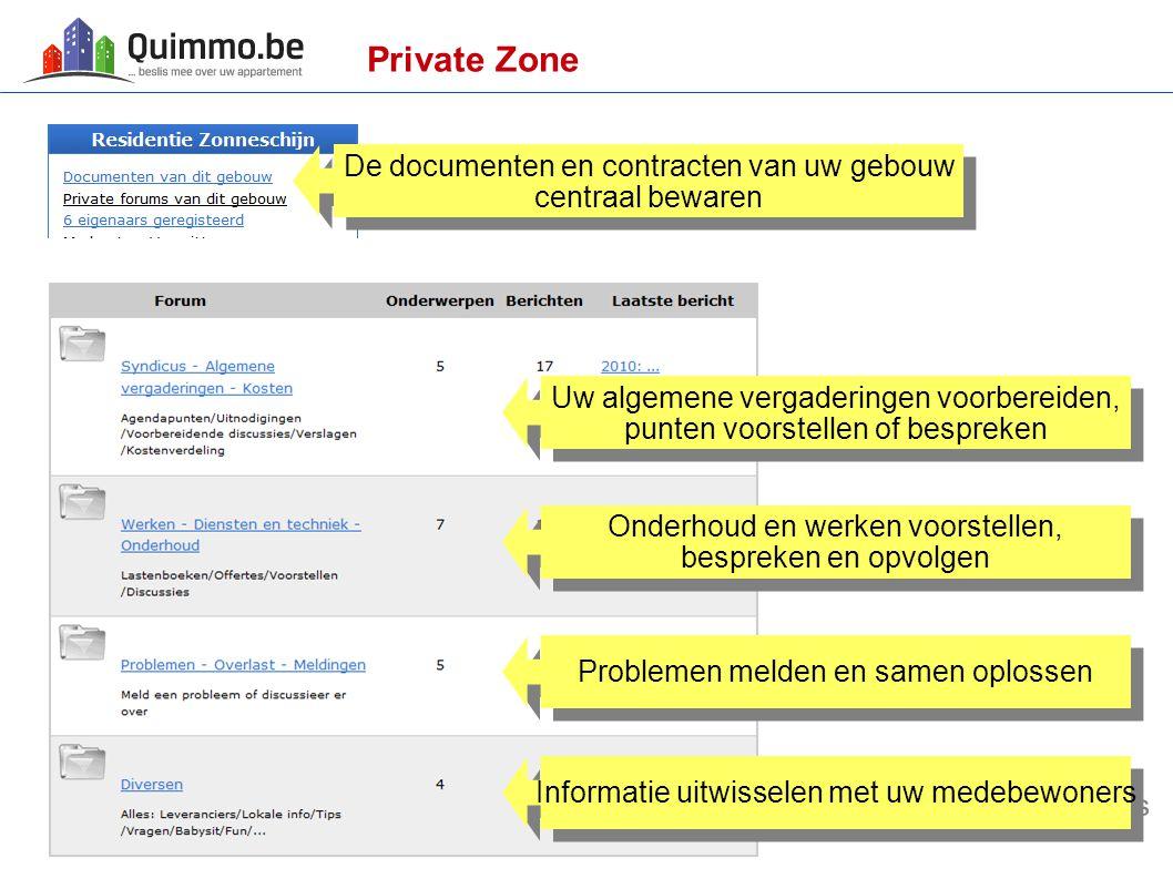 Private Zone De documenten en contracten van uw gebouw