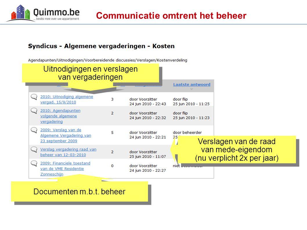 Communicatie omtrent het beheer