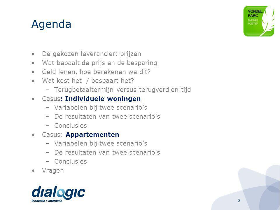 Agenda De gekozen leverancier: prijzen
