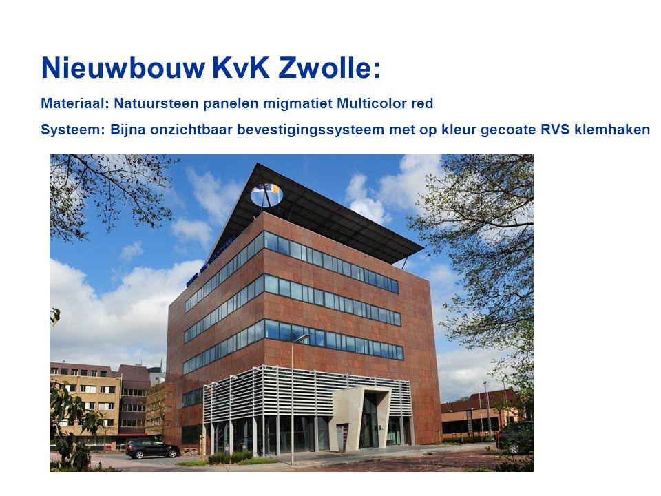 Nieuwbouw KvK Zwolle: Materiaal: Natuursteen panelen migmatiet Multicolor red.