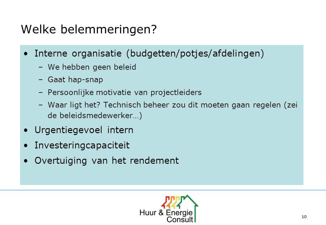 Welke belemmeringen Interne organisatie (budgetten/potjes/afdelingen)