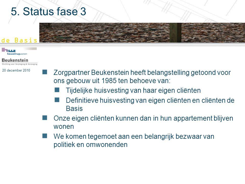 5. Status fase 3 Zorgpartner Beukenstein heeft belangstelling getoond voor ons gebouw uit 1985 ten behoeve van: