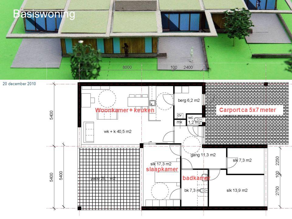 Basiswoning Woonkamer + keuken Carport ca 5x7 meter slaapkamer