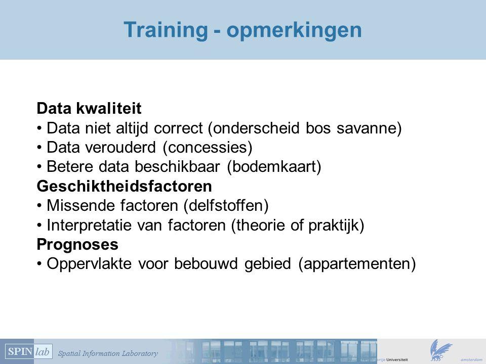 Training - opmerkingen