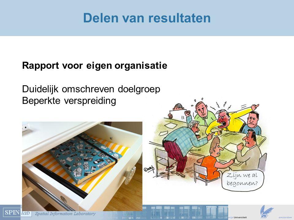 Delen van resultaten Rapport voor eigen organisatie