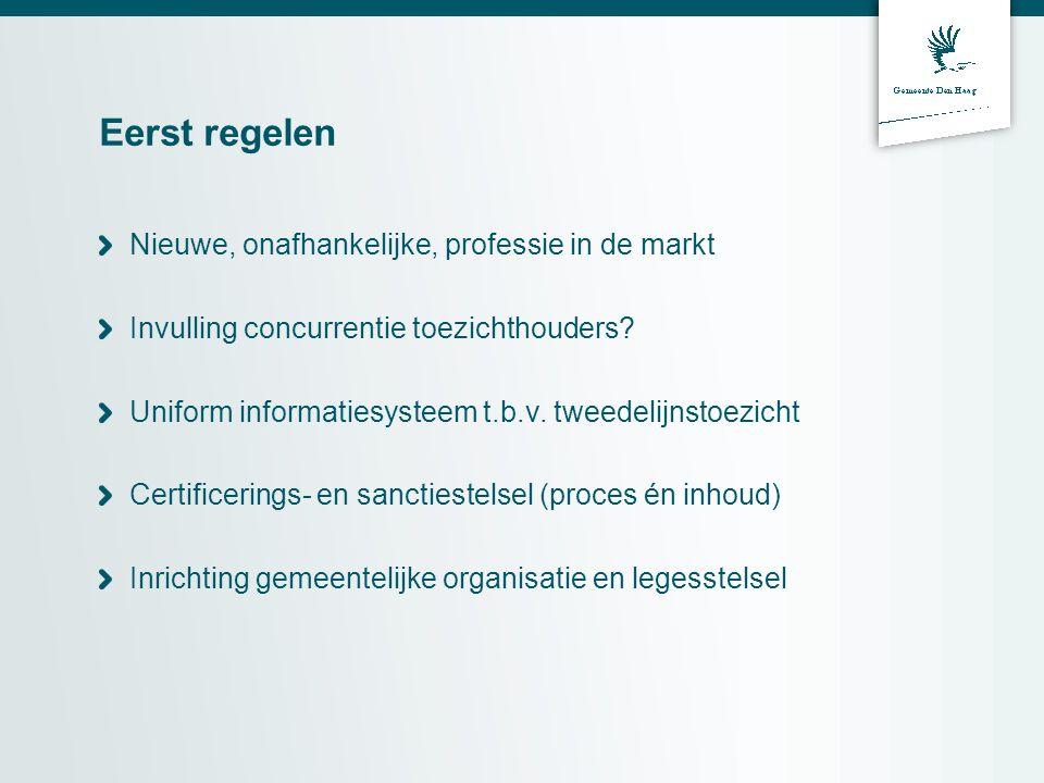 Eerst regelen Nieuwe, onafhankelijke, professie in de markt