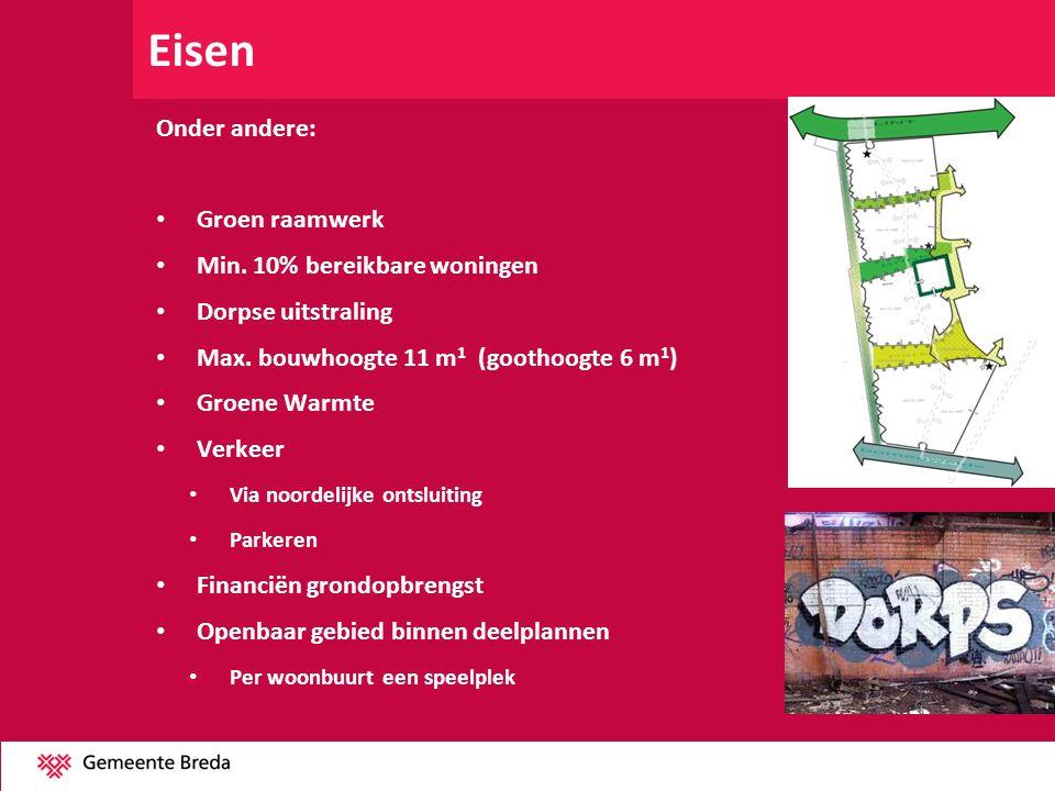 Eisen Onder andere: Groen raamwerk Min. 10% bereikbare woningen