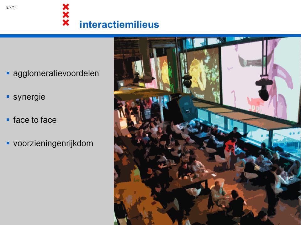 interactiemilieus agglomeratievoordelen synergie face to face