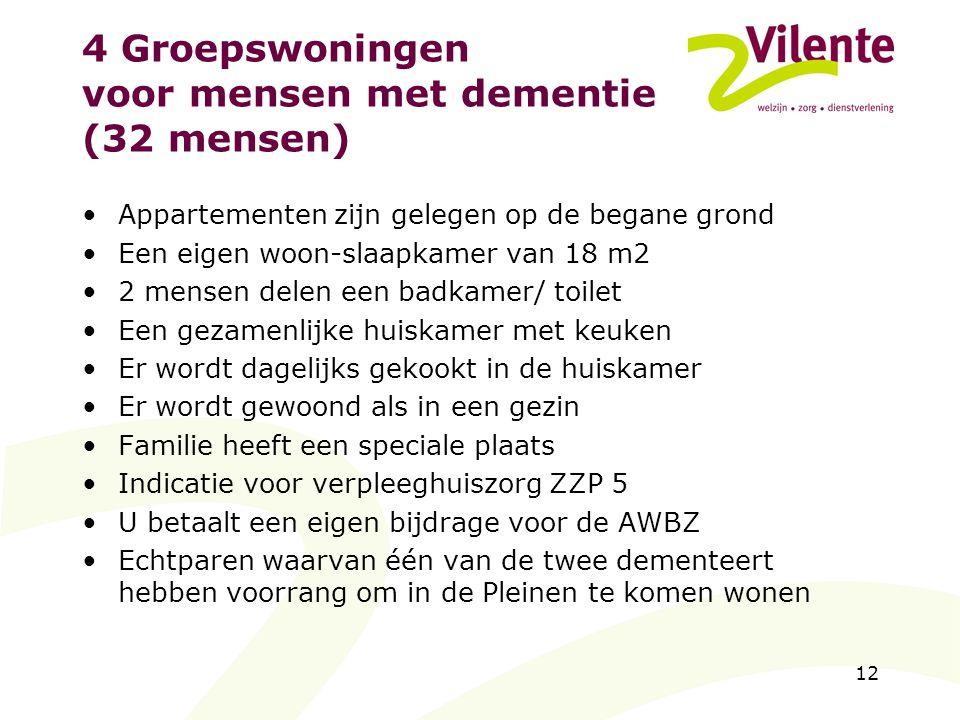 4 Groepswoningen voor mensen met dementie (32 mensen)