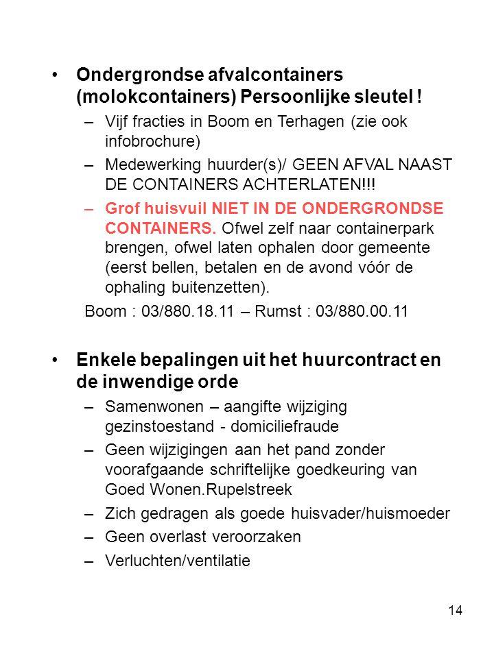 Ondergrondse afvalcontainers (molokcontainers) Persoonlijke sleutel !