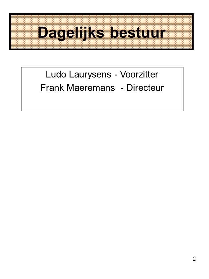 Dagelijks bestuur Ludo Laurysens - Voorzitter