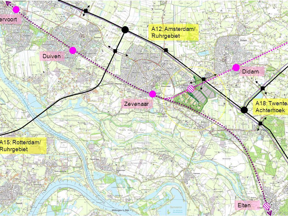 Westervoort A12; Amsterdam/ Ruhrgebiet. Duiven. Didam. Zevenaar. A18; Twente/ Achterhoek. A15; Rotterdam/ Ruhrgebiet.