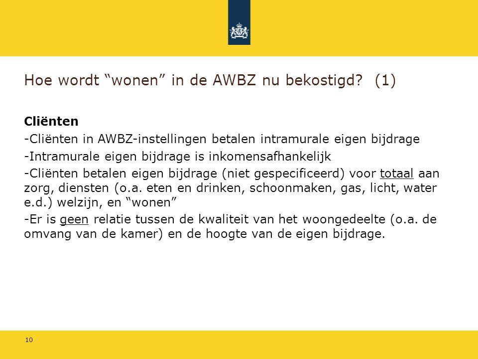 Hoe wordt wonen in de AWBZ nu bekostigd (1)