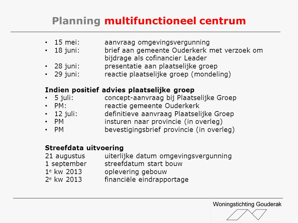 Planning multifunctioneel centrum
