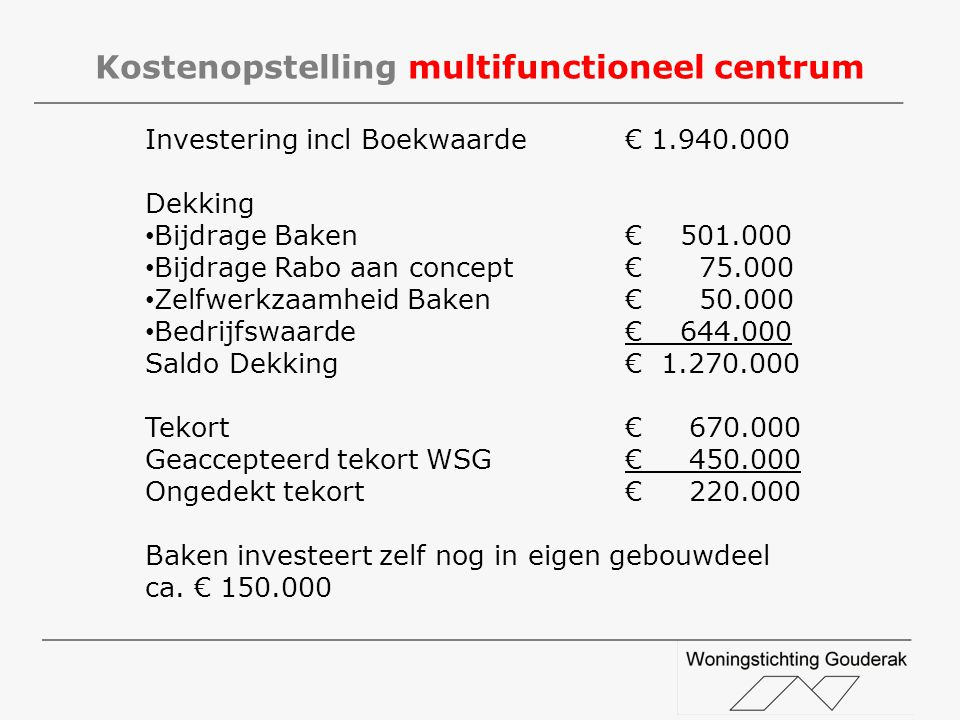 Kostenopstelling multifunctioneel centrum