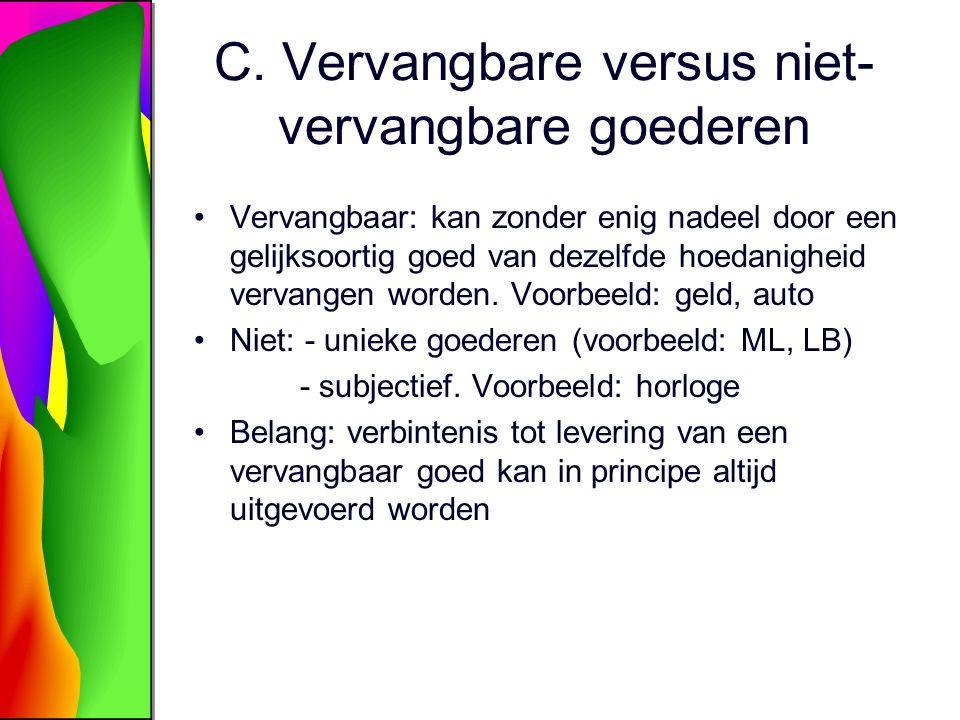C. Vervangbare versus niet-vervangbare goederen