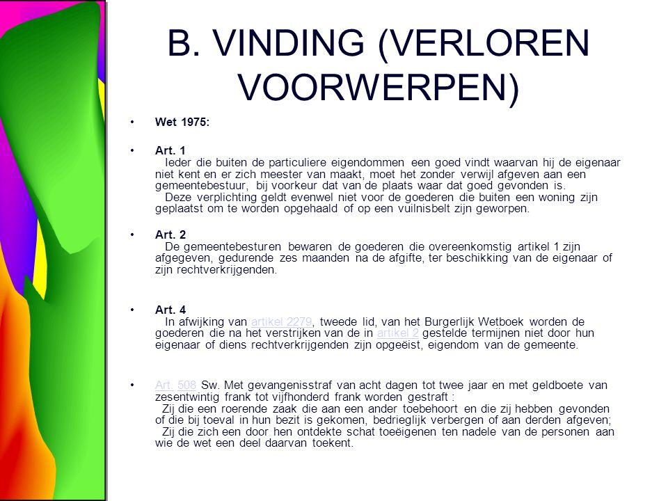 B. VINDING (VERLOREN VOORWERPEN)