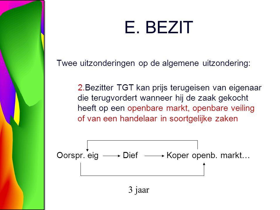 E. BEZIT 3 jaar Twee uitzonderingen op de algemene uitzondering: