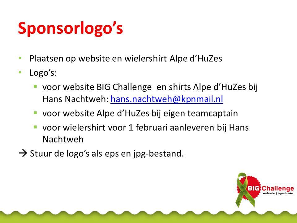 Sponsorlogo's Plaatsen op website en wielershirt Alpe d'HuZes Logo's: