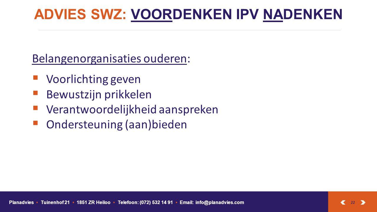 ADVIES SWZ: VOORDENKEN IPV NADENKEN