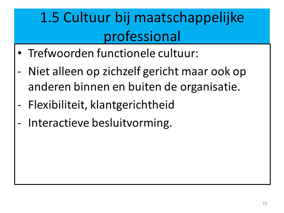 1.5 Cultuur bij maatschappelijke professional