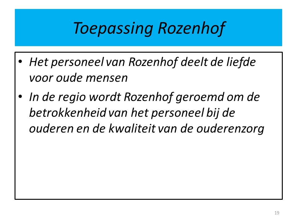 Toepassing Rozenhof Het personeel van Rozenhof deelt de liefde voor oude mensen.