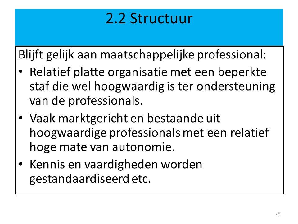 2.2 Structuur Blijft gelijk aan maatschappelijke professional:
