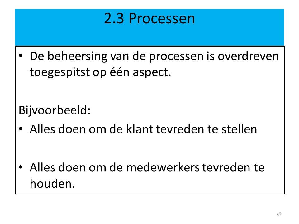 2.3 Processen De beheersing van de processen is overdreven toegespitst op één aspect. Bijvoorbeeld: